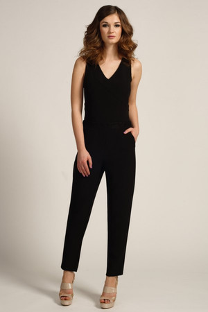 Black Lace Panel Sleevless Jumpuit