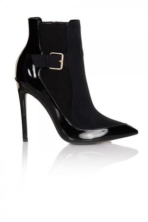 Black Patent Side Buckle Dressy Chelsea Boot