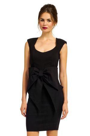 Black Sleeveless Large Bow Front Bodycon Dress