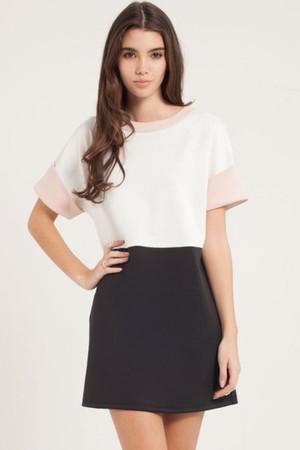 Black White and Peach Dress