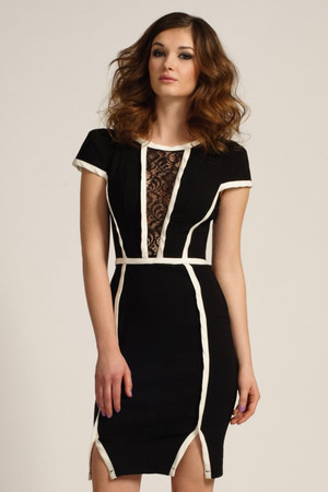 Black & Cream Lace Panel Piping Detail Bodycon Dress