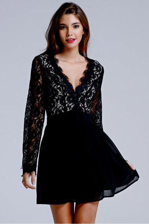 Black and Cream Lace Deep V Dress