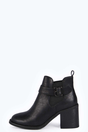 Block Heel Buckle Trim Ankle Boot black