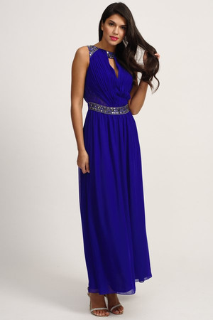 Blue Embellished Mesh Insert Maxi Dress