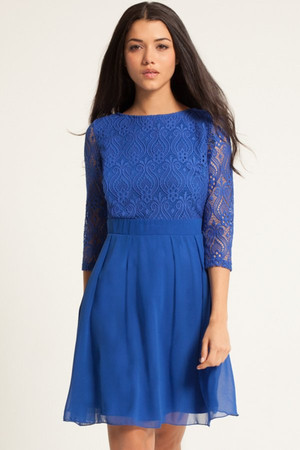 Blue Lace Detail Long Sleeve Skater Dress