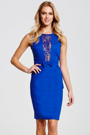 Blue Lace Insert Dress
