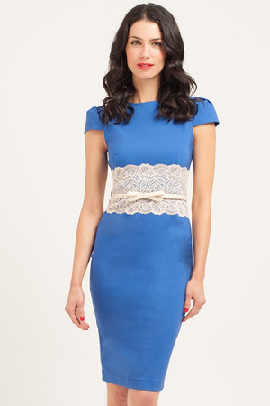 Blue & Cream Lace Panel Bodycon Dress