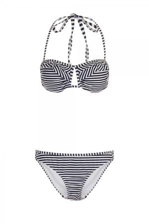 Blue and White Stripe Cutout Bikini
