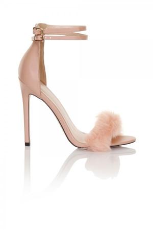Blush fur / double ankle strap heel