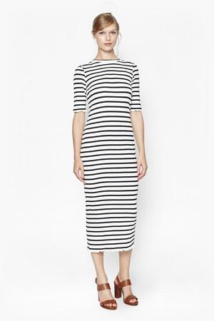 Bodycon Stripe Maxi Dress - White/Navy