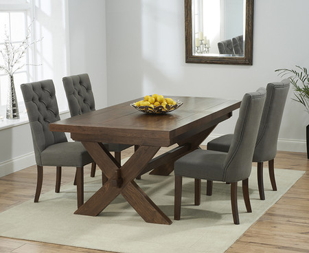 Bordeaux 160cm Dark Solid Oak Extending Dining Table with Anais Fabric Dark Oak Leg Chairs