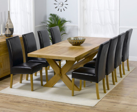 Bordeaux 200cm Extending Dining Table with Brown Normandy Leather Chairs