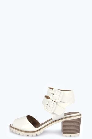 Buckle Strap Peeptoe Block Heel Sandal white