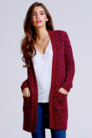 Burgundy and Navy Cable Knit Cardigan