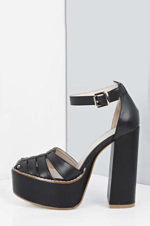 Caged Toe Block Heel Platforms black