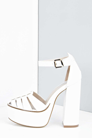 Caged Toe Block Heel Platforms white