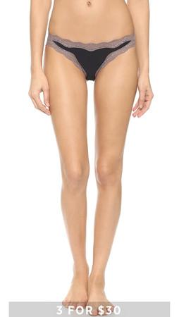 Calvin Klein Underwear Cotton Bikini With Lace - Black