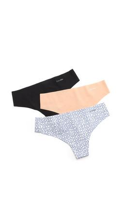Calvin Klein Underwear Invisibles Thong 3 Pack - Multi