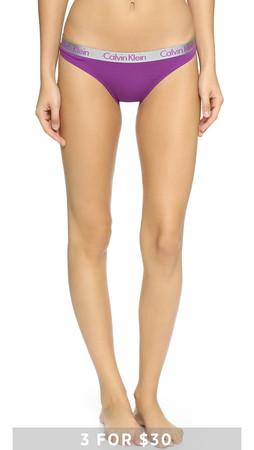 Calvin Klein Underwear Radiant Cotton Thong - Wild Iris