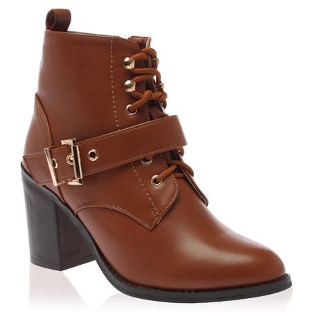 Camilla Tan Brown Block Heel Boots
