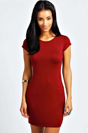 Cap Sleeve Bodycon Dress berry