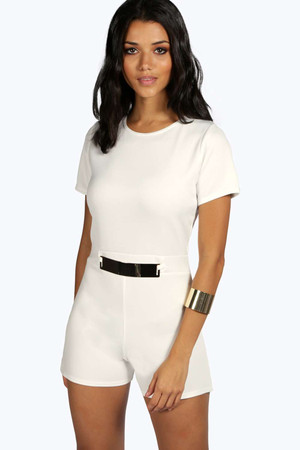 Capped Sleeve Belted Scuba Playsuit ivory