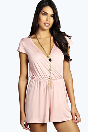 Capped Sleeve Wrap Front Playsuit dusky pink