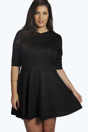 Carol Jacquard Skater Dress black