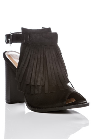 Cassie Black Tassel Cut Out Ankle Boots
