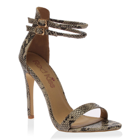 CeCe Beige Snake Strappy Heeled Sandals