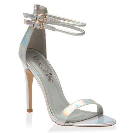 CeCe Silver Holographic Strappy Heeled Sandals