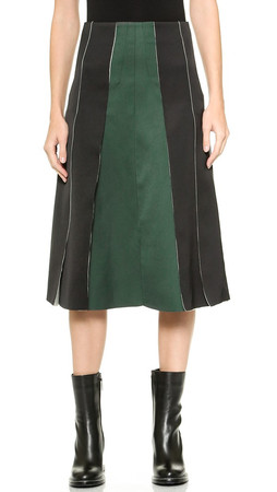 Cedric Charlier Pleated Skirt - Green/Black