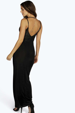 Chain Back Maxi Dress black
