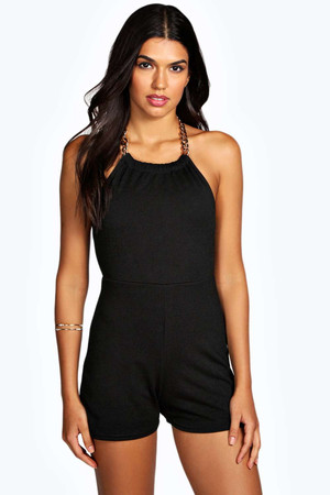Chain Halter Backless Playsuit black