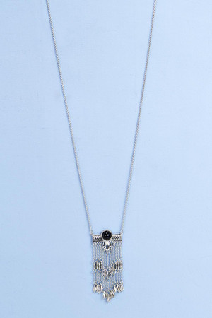 Chain Tassel Long Necklace silver