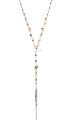 Chan Luu Beaded Crescent & Dagger Lariat Necklace - Rose Gold