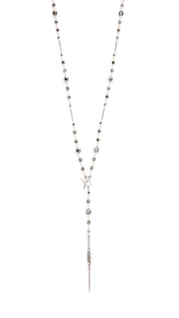 Chan Luu Beaded Crescent & Dagger Lariat Necklace - Silver Night