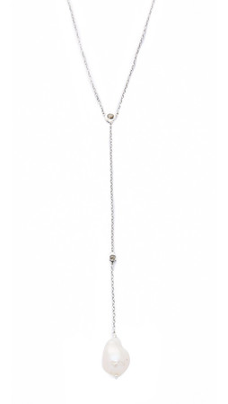 Chan Luu Freshwater Cultured Pearl Lariat Necklace - White Pearl