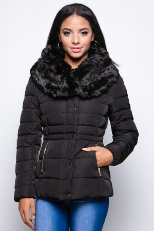 Chanelle Black Faux Fur Padded Coat