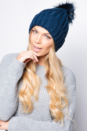 Charlotte Navy Faux Fur Bobble Hat