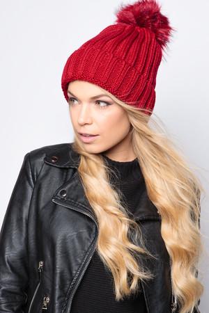 Charlotte Wine Faux Fur Bobble Hat