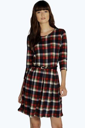 Check Brushed Knit Skater Dress red