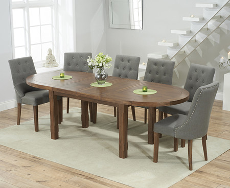 Chelsea Dark Oak Oval Extending Dining Table with Pacific Fabric Dark Oak Leg Chairs