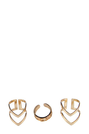 Chevron And Chain Ring Pack - gold