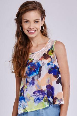 Chiffon Floral Lace Trim Vest