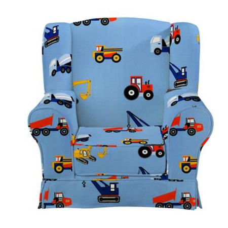 Childs Wing Chair - Toy Trucks