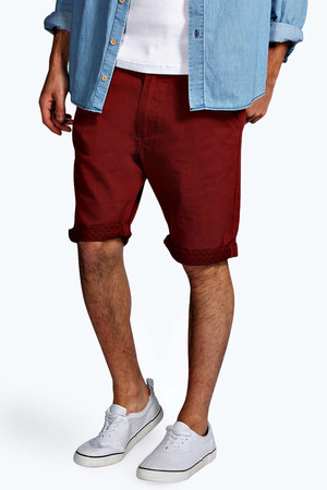 Chino Shorts with Star Print - wine