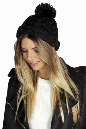 Chunky Knit Bobble Hat - black