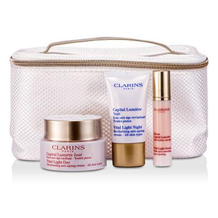 Clarins Vital Light Collection (All Skin Types): Day Cream 50ml + Night Cream 15ml + Serum 10ml + Bag 3pcs+1bag