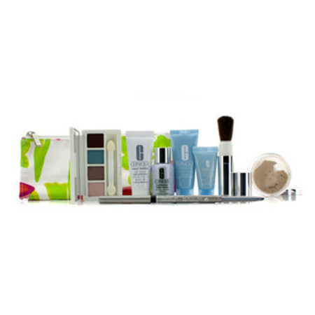 Clinique Travel Set: Laser Focus + City Block + Turnaround Mask + Concentrate + Face Powder #20 + 4 Colors Eye Shadow + Eyeliner + Brush + Bag 8pcs+1bag